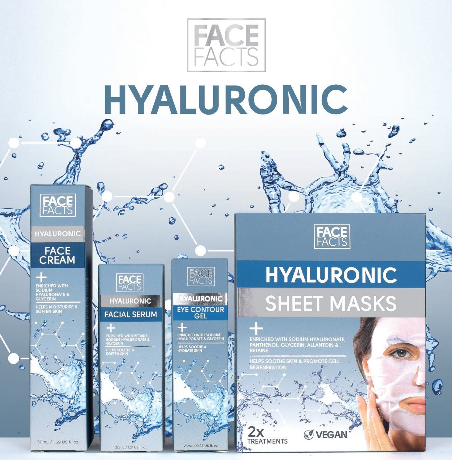 Face Facts Hyaluronic Skincare Set - day and eye cream, and serum and sheet masks