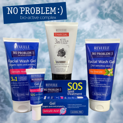 Revuele No Problem skincare set - 2 washes, 1 spot treatment and 1 white clay and activated charcoal scrub, gel, mask