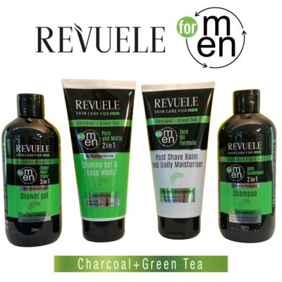 Revuele Men Care Charcoal and Green Tea Set - shampoo, shower gel, shaving gel & moisturiser