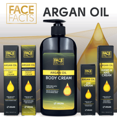 Face Facts Argan Oil Set - day, night and eye, hand and body cream - VEGAN FRIENDLY