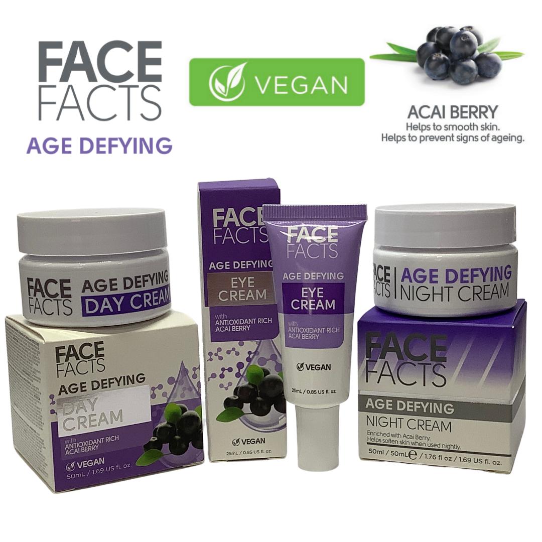 Face Fact Age Defying (Acai Berry) day, night & eye cream - VEGAN FRIENDLY