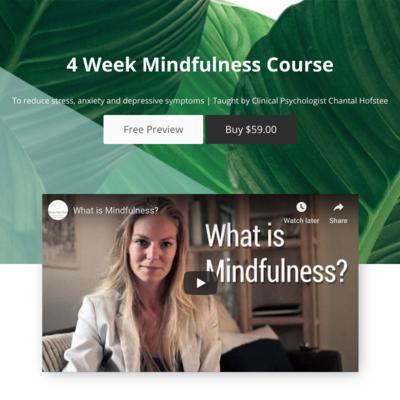 Online 4 week mindfulness programme