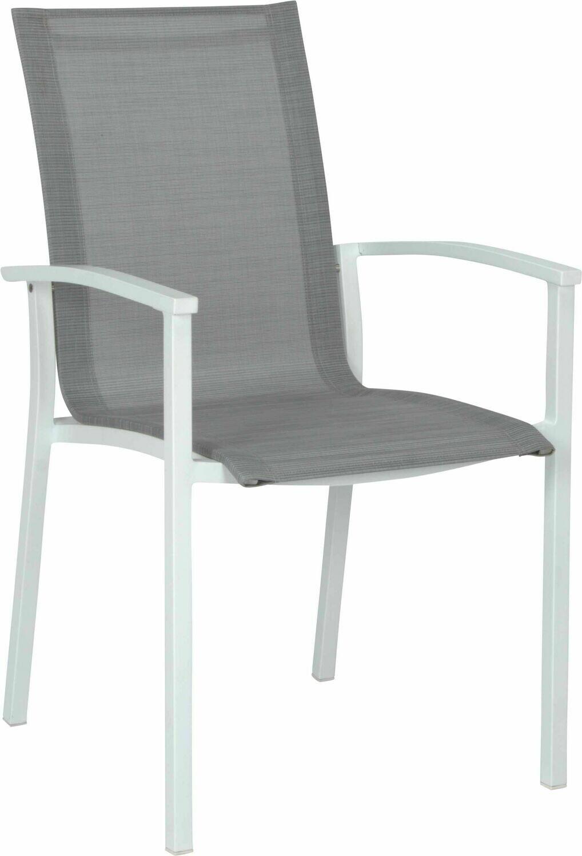 EVOEE STAPELSESSEL Aluminium weiß mit Textilenbezug silber und Aluminiumarmlehnen weiß