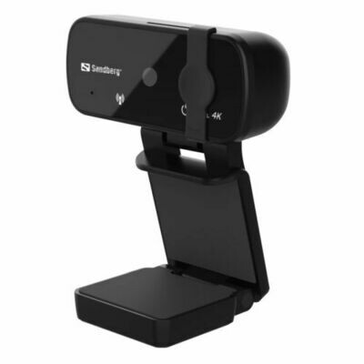 Sandberg USB Webcam Pro+ 4K with Omni-directional Mics, 8MP, Full HD 4K, Glass Lens, Autofocus & Light Correction, Lens Cover, 5 Year Warranty