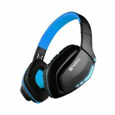 Sandberg Blue Storm Bluetooth Headset, Microphone, 40mm Driver, Foldable, Black & Blue, 5 Year Warranty