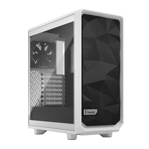 Fractal Design Meshify 2 Compact (White TG) Gaming Case w/ Clear Glass Window, ATX, Angular Mesh Front, 3 Fans, Detachable Front Filter, USB-C
