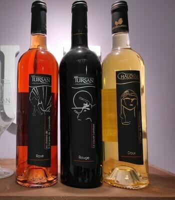 Lot 3 bouteilles Tursan blanc moelleux -rosé- rouge
