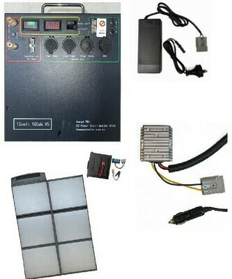 Complete Off Grid Lithium Power Bundle with Solar and AC/DC Chargers