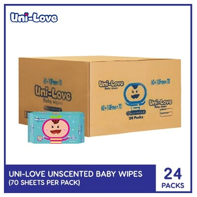 UniLove Unscented Baby Wipes 70's (1 Case)