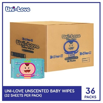 UniLove Unscented Baby Wipes 32's (1 Case)