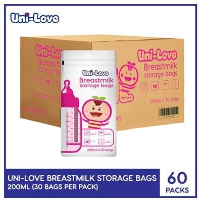 Uni-Love Breastmilk Storage Bags 200ml - 30/pack (1 Case)