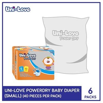 Uni-Love Powerdry Baby Diaper 40's (Small) - 6 PACKS