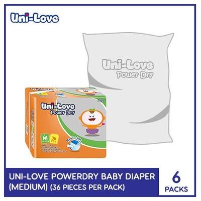Uni-Love Powerdry Baby Diaper 36's (Medium) - 6 PACKS