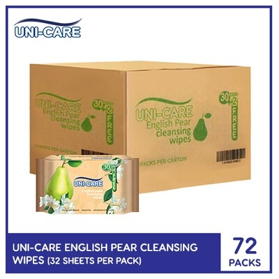 Uni-Care English Pear Cleansing Wipes 32's (1 Case)