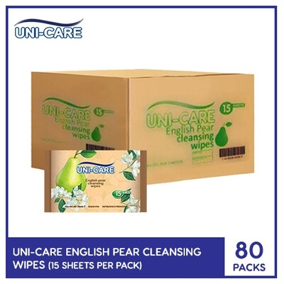 Uni-Care English Pear Cleansing Wipes 15's (1 Case)