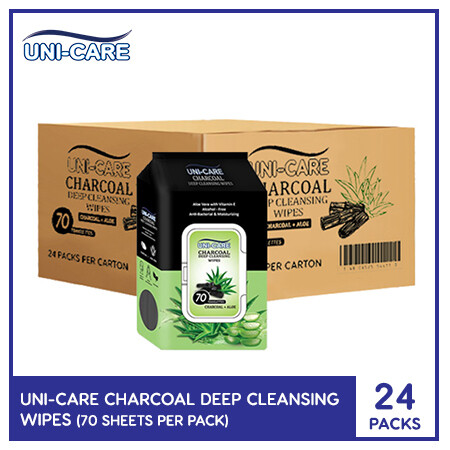 Uni-Care Charcoal Deep Cleansing Wipes 70's (1 Case)