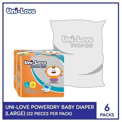 Uni-Love Powerdry Baby Diaper 32's (Large) - 6 PACKS