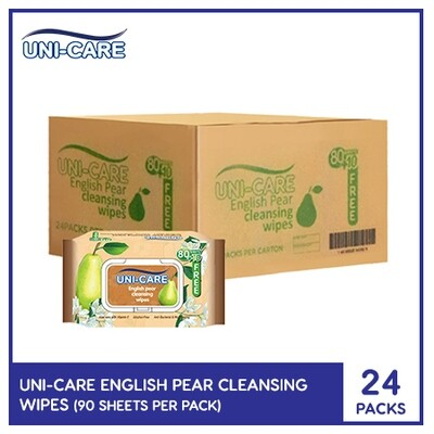 Uni-Care English Pear Cleansing Wipes 90's (1 Case)