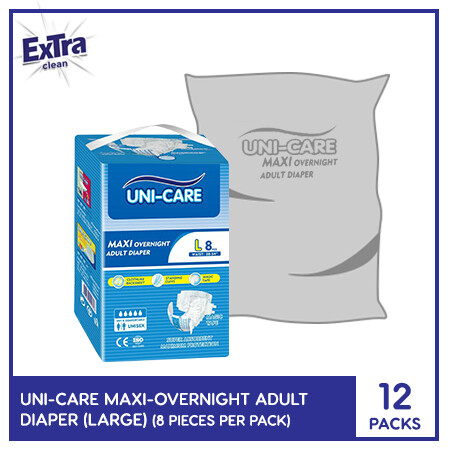Uni-Care Maxi Overnight Adult Diaper 8's (Large) - 12 PACKS