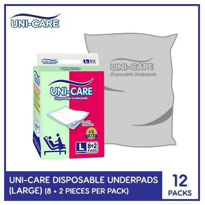 Uni-Care Disposable Underpads 8+2 (Large) - 12 PACKS