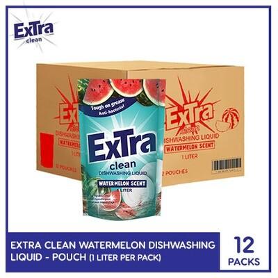 Extra Clean Watermelon Scent Dishwashing Liquid 1L (Pouch) ( 1 Case)