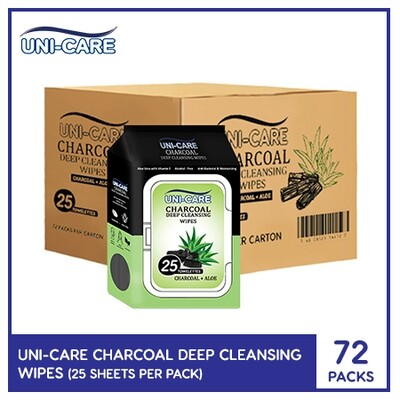 Uni-Care Charcoal Deep Cleansing Wipes 25's (1 Case)