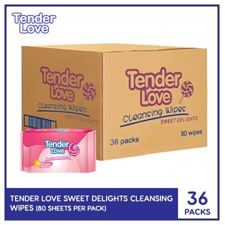Tender Love Sweet Delights Cleansing Wipes 80's (1 Case)