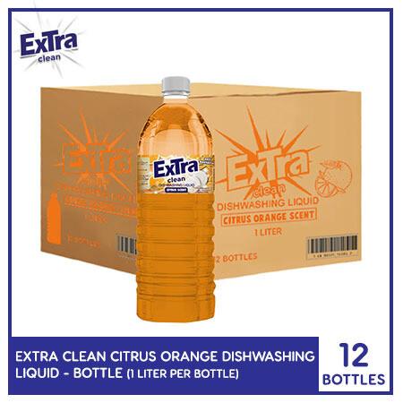 Extra Clean Citrus Orange Scent Dishwashing Liquid 1L (Bottle) (1 Case)