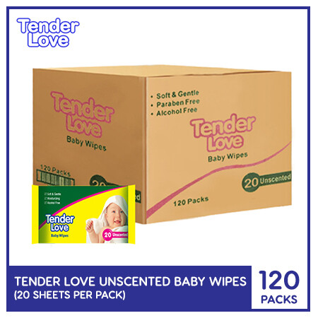 Tender Love Unscented Baby Wipes 20's (1 Case)