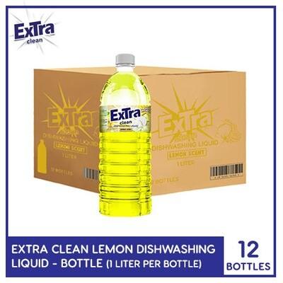 Extra Clean Lemon Scent Dishwashing Liquid 1L (Bottle) (1 Case)