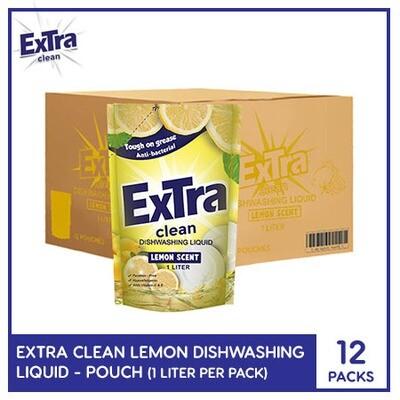 Extra Clean Lemon Scent Dishwashing Liquid 1L (Pouch) ( 1 Case)