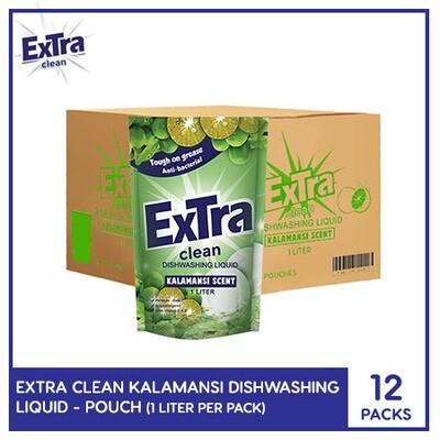 Extra Clean Kalamansi Scent Dishwashing Liquid 1L (Pouch) ( 1 Case)