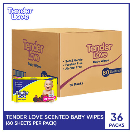 Tender Love Scented Baby Wipes 80's (1 Case)