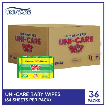 Uni-Care Extra Care Baby Wipes 84's (1 Case)