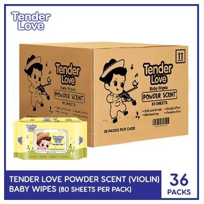 Tender Love New Powder Scent Baby Wipes (Violin) 80's (1 case - 36 Packs)