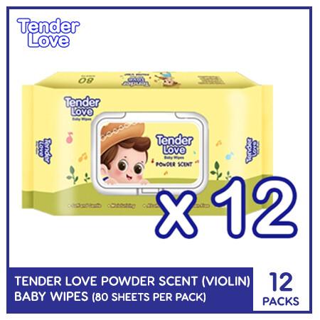Tender Love New Powder Scent Baby Wipes (Violin) 80's (12 PACKS)