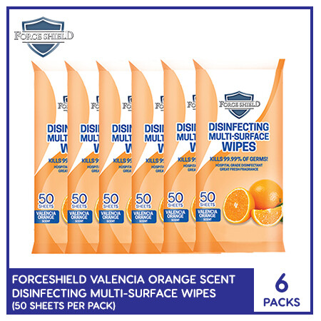 Forceshield Valencia Orange Scent Disinfecting Multi-Surface Wipes 50's (6 PACKS)