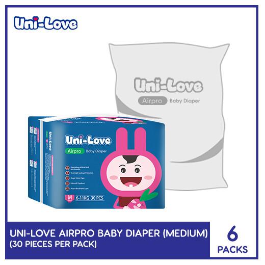 UniLove Airpro Baby Diaper 30's (Medium) (6 PACKS)