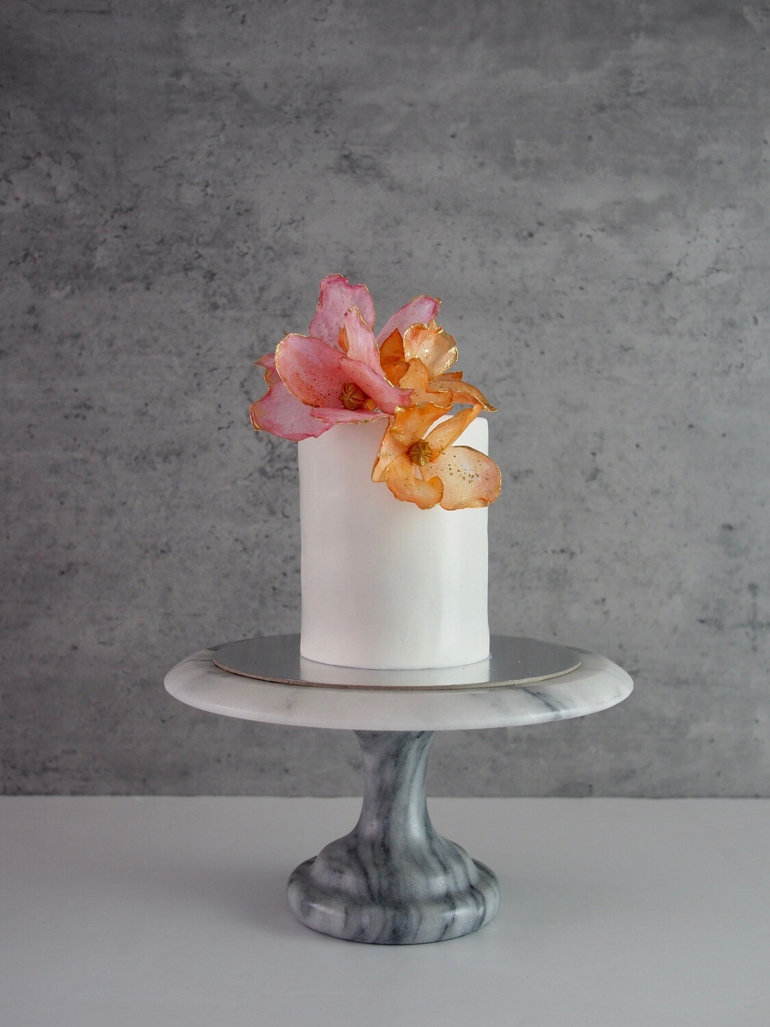 Coral and Orange Floral Cake