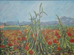 """""""Field with Poppies"""" - Vincent Van Gogh, ~1888 (Artist's Interpretation)"""