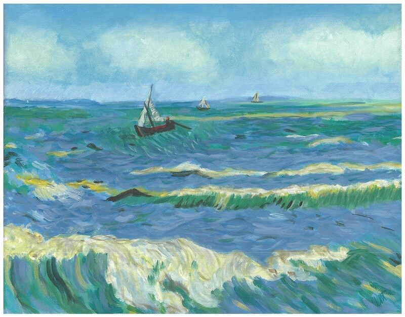 """View of the Sea at Saintes-Maries"" – Vincent Van Gogh, 1888 (Artist's Interpretation)"