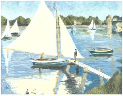"""""""The Seine at Argenteuil"""" – Pierre-Auguste Renoir, 1873 (Artist's Interpretation)"""