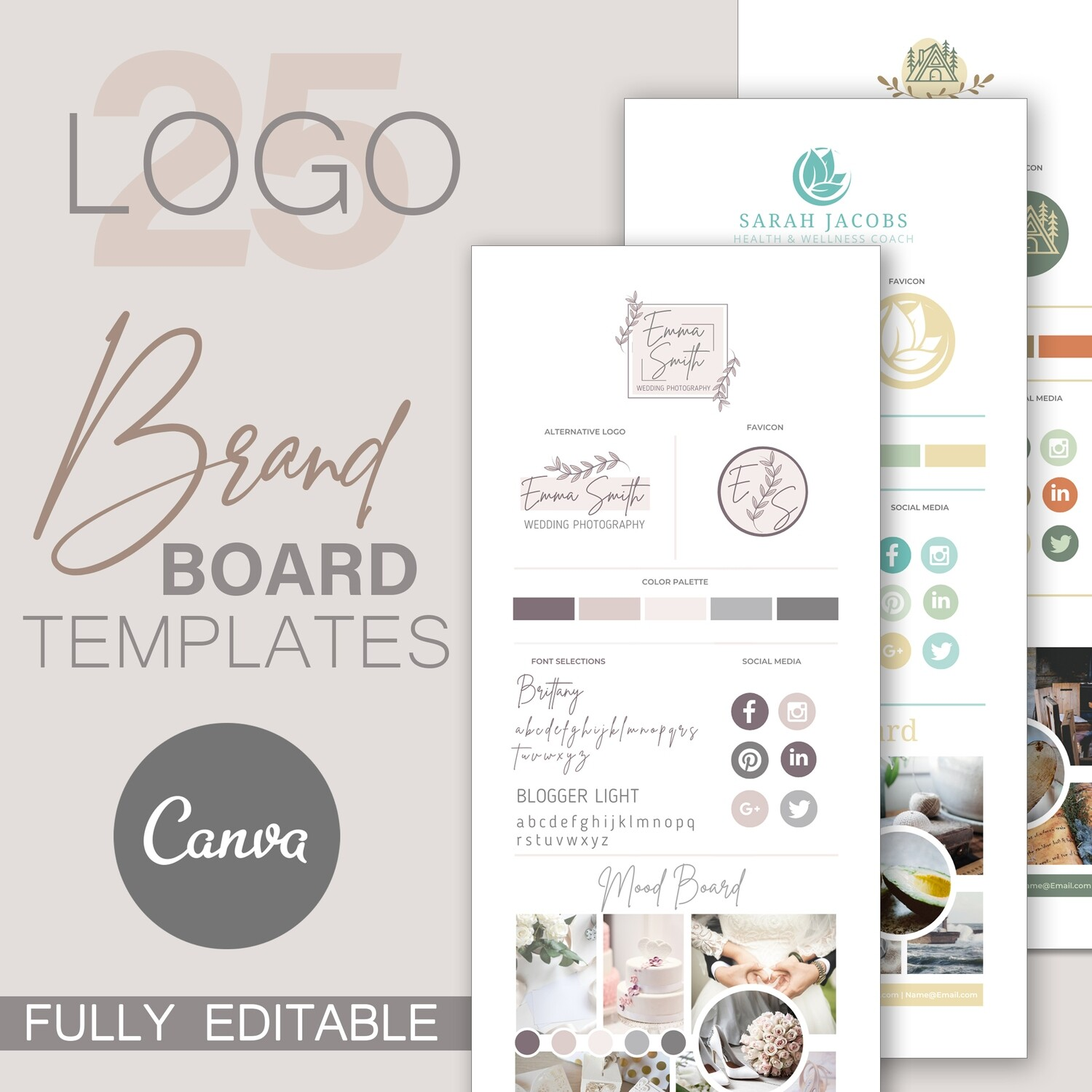 25 Brand Boards & Logo Templates For Canva
