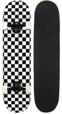 PATRÓN CHECKER 7,75 completo prefabricado de monopatín PRO en negro / blanco