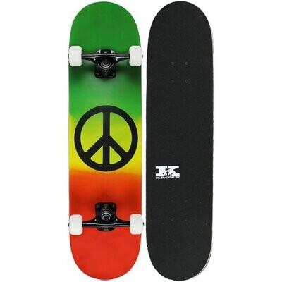 "KPC Pro Skateboard Rasta Peace Sign 7.75 """