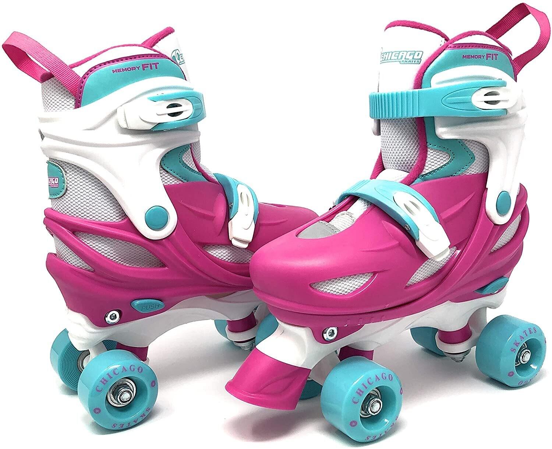 Chicago Skates - Patines para niñas (ajustables, talla mediana)