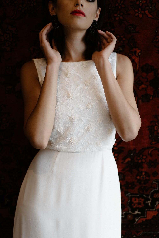 AUDREY. Ivory Silk Wedding Dress