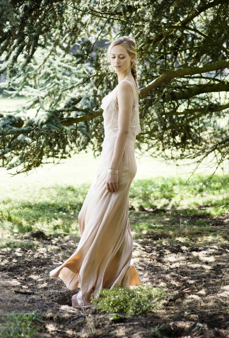 SIMONE. Blush Silk Wedding Dress with CELINE Lace Top