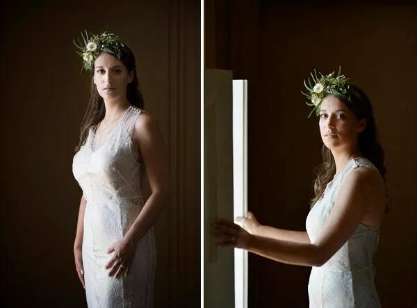 BEA. White Lace Wedding Dress Champagne Slip