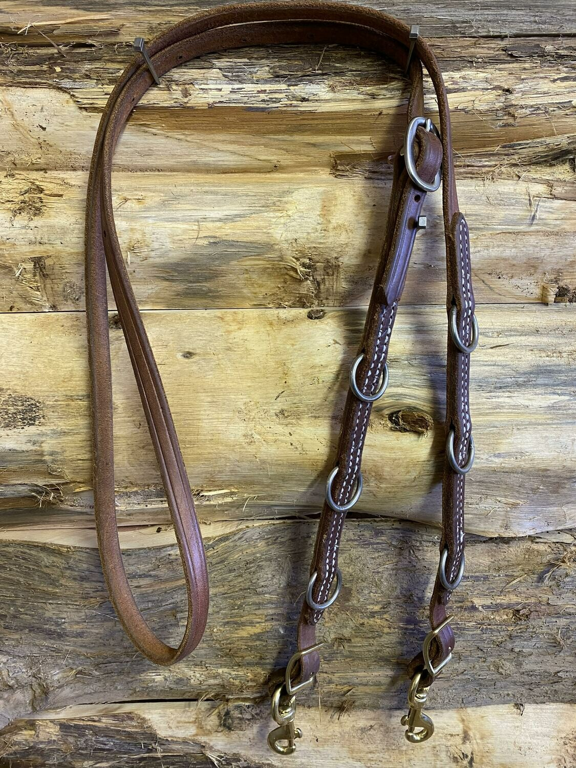#212F One piece flat leather German Martingale rein